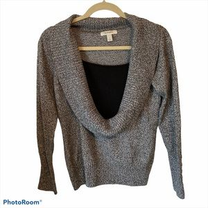 Dress Barn Cowl Sweater Crop Grey Small